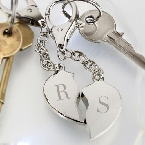 Initials Two Hearts Keyring